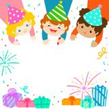 Multicultural cute kids draw invitation for kids party template Royalty Free Stock Photography