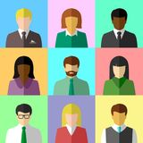 Multicultural group of people in flat design Stock Images
