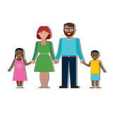 Multicultural family on white. Royalty Free Stock Image