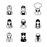 Multicultural female professions icon set. Royalty Free Stock Photography