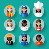Multicultural female professions icon set. Stock Photography