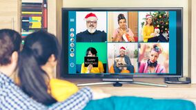 Free Multicultural Friends Celebrating Christmas Online Having Fun On Video Call Bonding And Expressing Friendship And Hope Stock Images - 196197244