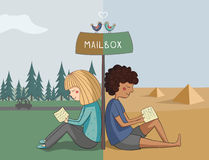 Multicultural girl and boy read mail Royalty Free Stock Photo