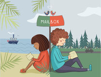Multicultural girl and boy read mail Royalty Free Stock Images