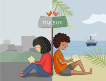 Multicultural girl and boy read mail Royalty Free Stock Photography