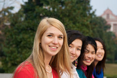 Multicultural girls in College Stock Photo