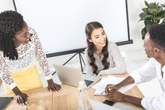 multicultural group of business people discussing work royalty free stock image