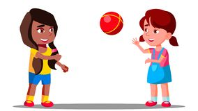 Multicultural Group Of Children Playing Together Vector. Isolated Illustration royalty free illustration
