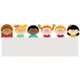 Multicultural group of kids holding horizontal blank banner vector illustration