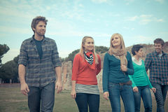 Multicultural Group of People Walking Together stock image