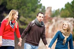 Multicultural Group of People Walking Together stock images