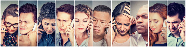 Multicultural group of sad people men and women talking on mobile phone. Multicultural group of sad worried people men and women talking on mobile phone royalty free stock photo