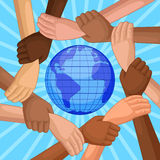 Multicultural hands around globe vector illustration