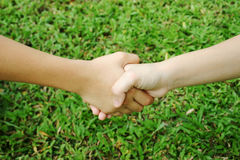 Multicultural handshake. Two young children shaking hands royalty free stock photo