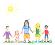 Multicultural kids. Holding each other. Child's drawing Royalty Free Stock Photo