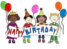 Multicultural kids with Birthday banner. Happy multicultural cartoon kids holding a Happy Birthday banner Royalty Free Stock Image