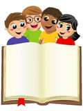 Multicultural kids children behind blank open big book isolated Stock Photo