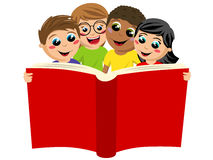 Multicultural kids children reading big book isolated Stock Photography