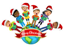 Multicultural kids wearing xmas hat singing Christmas carol Earth isolated. Multicultural kids wearing xmas hat and singing Christmas carol on the Earth isolated vector illustration