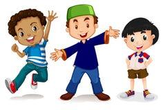 Multicultural kids on white background stock illustration