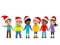 Multicultural kids xmas hat hand in hand isolated Royalty Free Stock Photo