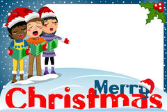 Multicultural kids xmas hat singing Christmas carol blank frame Stock Photography