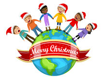 Multicultural kids xmas hat singing Christmas carol hand Earth isolated Stock Photos