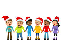 Multicultural kids xmas hat singing Christmas carol hand isolated Stock Photo