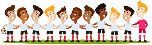 Multicultural men`s soccer team lineup on football field Royalty Free Stock Photography