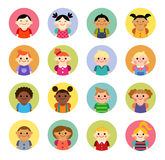 Multicultural national children avatars in flat style Stock Photo
