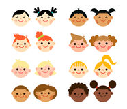 Multicultural national children heads in flat style Stock Image