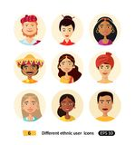 Multicultural national ethnic people cartoon avatars icons set. Multicultural national ethnic people cartoon avatars flat icons set stock illustration