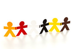 Multicultural paper people chain Stock Image