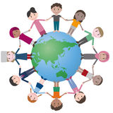 Multicultural people around earth, holding hands. Royalty Free Stock Photography