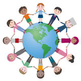 Multicultural people around earth, holding hands. Royalty Free Stock Photos
