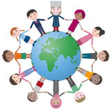 Multicultural people around earth, holding hands. Royalty Free Stock Image
