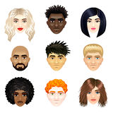 Multicultural people faces vector set Stock Images