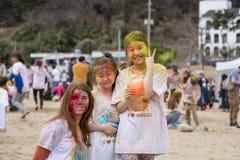 Geoje, SOUTH KOREA - MARCH 2018: Holi festival. Multicultural portrait at Holi festival stock photography