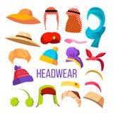 Multicultural And Season Headwear Hat Set Vector stock illustration