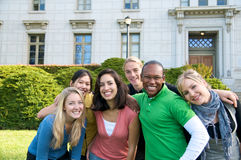 Multicultural Students on University Campus. Diverse ethnic Students on university campus. A group of Asian, African American, Hispanic and Caucasian students Royalty Free Stock Photography