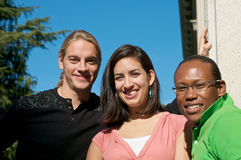 Multicultural Students on University Campus. Diverse ethnic Students on university campus. A photo of African American, Hispanic and Caucasian students Royalty Free Stock Photos