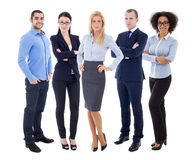 Multicultural team - full length portrait of young business people isolated on white. Background royalty free stock images