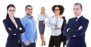 Multicultural team - young business people isolated on white Royalty Free Stock Photo