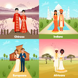 Multicultural Wedding Couples Design Concept Stock Image