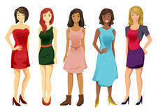 Multicultural Women. Vector set of five multicultural women stock illustration