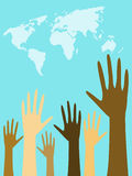 Multiculture. Human hands raised to the sky royalty free illustration