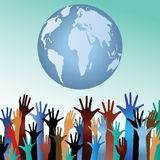 Multiculture hands with globe Stock Photography