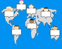 Multiculture kids. Multi culture kids and world map royalty free illustration