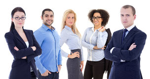 Multicultureel team van jonge bedrijfsdiemensen op wit worden geïsoleerd stock foto's