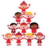 Multiculturele de jonge geitjesBoom van Kerstmis Royalty-vrije Stock Foto's